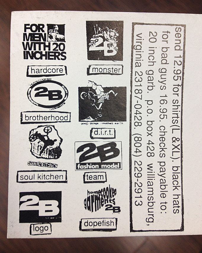 back of the 2B postcard/catalog