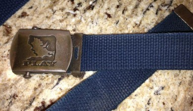 The PLAY Clothes canvas belt with triceratops logo (courtesy of Darren Hough)