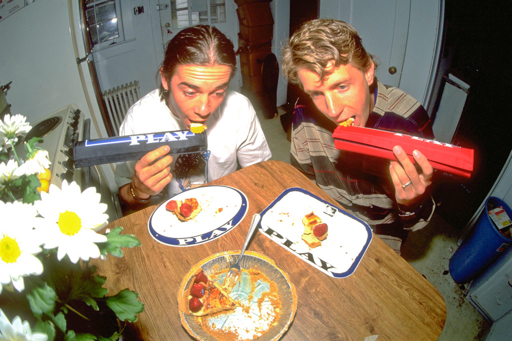 Vaun Stout and Hal Brindley eating strawberry pie of PLAY numberplates with PLAY padsets