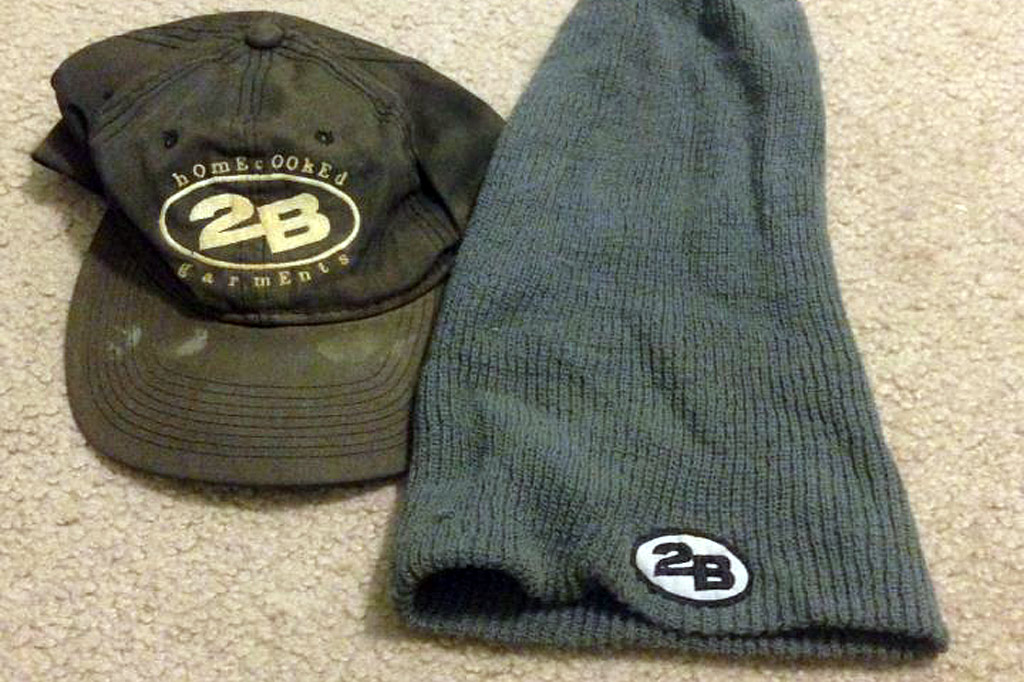 2B baseball hat and beanie sent by Kevin Stotler