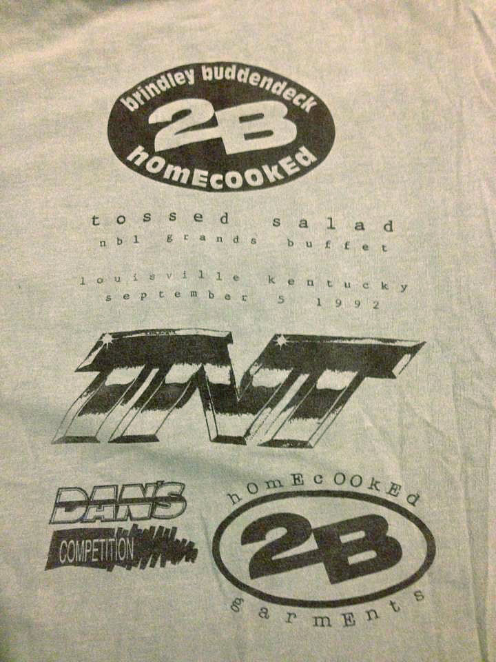 The front of the 1992 Tossed Salad contest tee by 2B