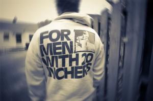 "Hal B wearing an original 2B ""For Men With 20 Inchers"" sweatshirt."