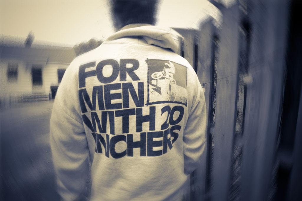 "Hal Brindley wearing an original 2B ""For Men With 20 Inchers"" sweatshirt."