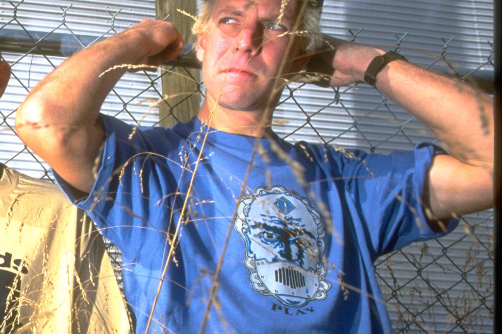Leif Valin wearing the PLAY Bogman tee shirt 1996