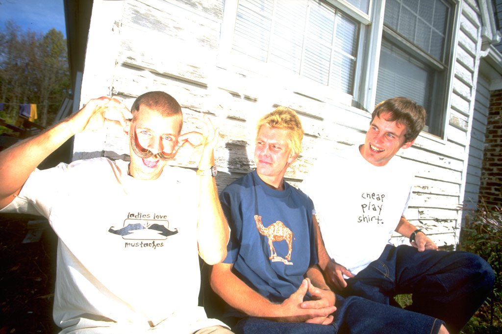 "hal b sporting ""ladies love moustaches"" tee beside leif valin and leigh ramsdell 1996"