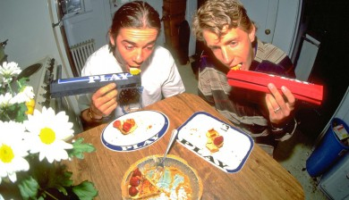 Vaun Stout and Hal Brindley eating cherry pie of PLAY numberplates with PLAY padsets