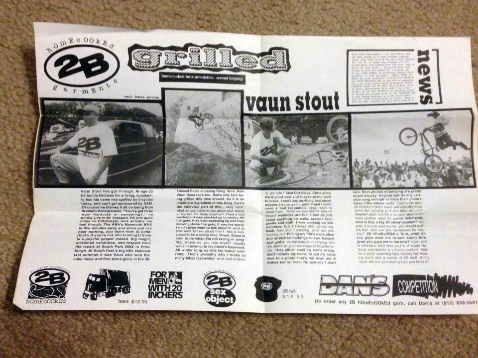 Grilled, the 2B BMX newsletter featuring Vaun Stout